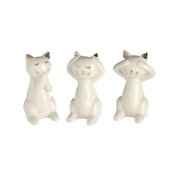 Dekofigur Cats, 3-teilig, weiß