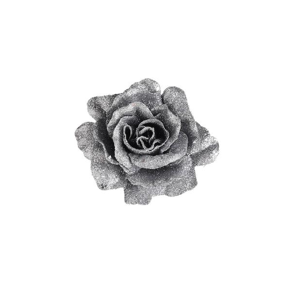 Rose Glimmer auf Clip, silber
