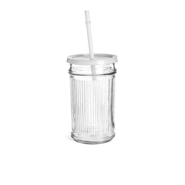 Trinkglas Rib mit Deckel und Trinkhalm, weiß