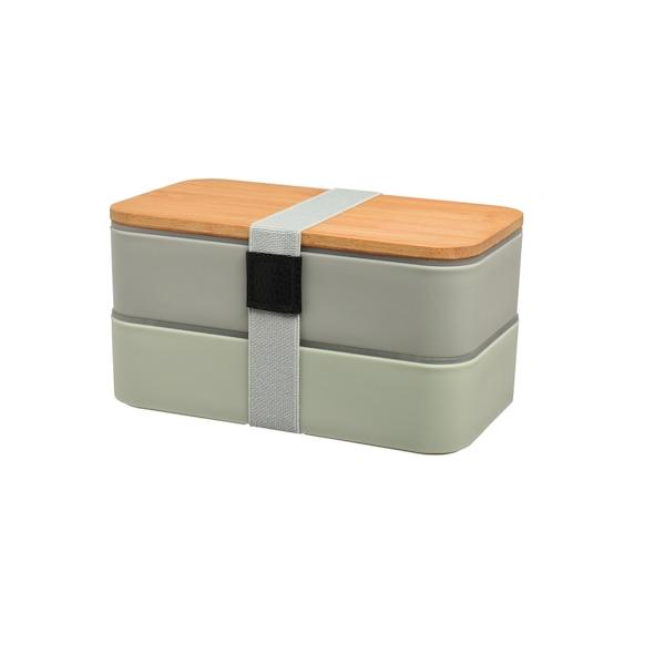 Doppel-Lunchbox inkl. Mehrwegbesteck, mintgrün