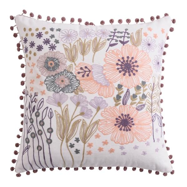 Kissenhülle Blumen, gestickt, flieder