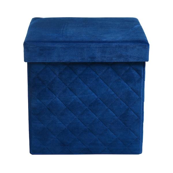 Samt-Hocker mit Aufbewahrungsfunktion, klappbar, dunkelblau