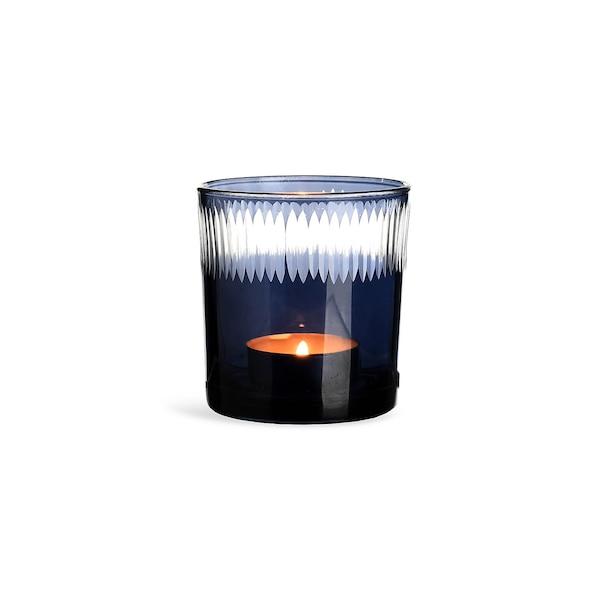 Teelichtglas Klarschliff, bleu foncé