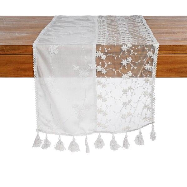 Tischläufer Blütenspitze, weiß