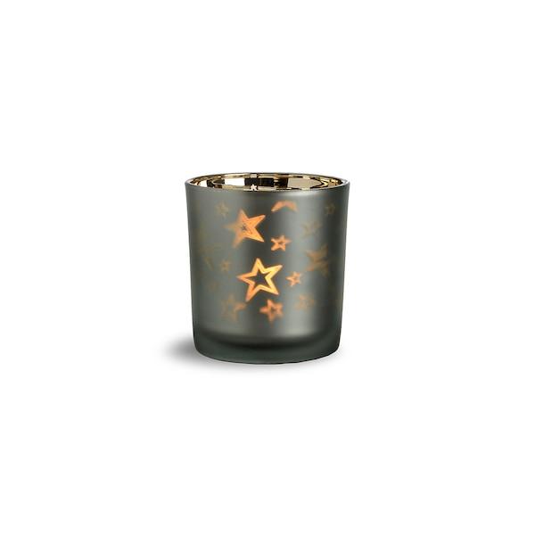 Teelichtglas Sterne, graugrün