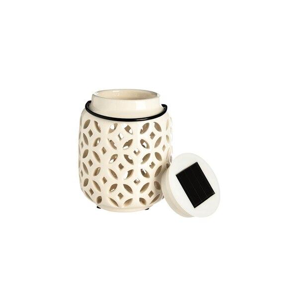 Solarleuchte Keramik, weiß