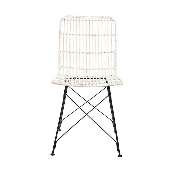 Rattan-Stuhl ohne Armlehnen, weiß