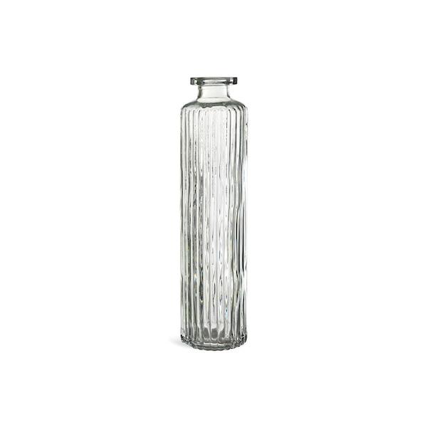 Vase mit Rillen aus Glas, graugrün