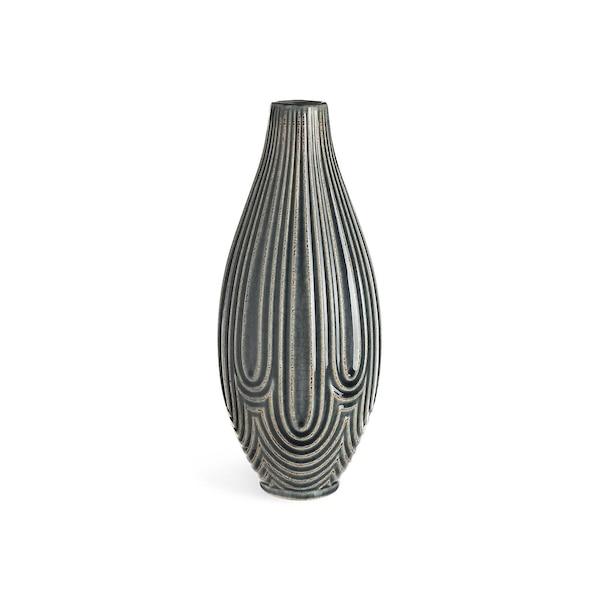Vase aus Keramik, dunkelblau