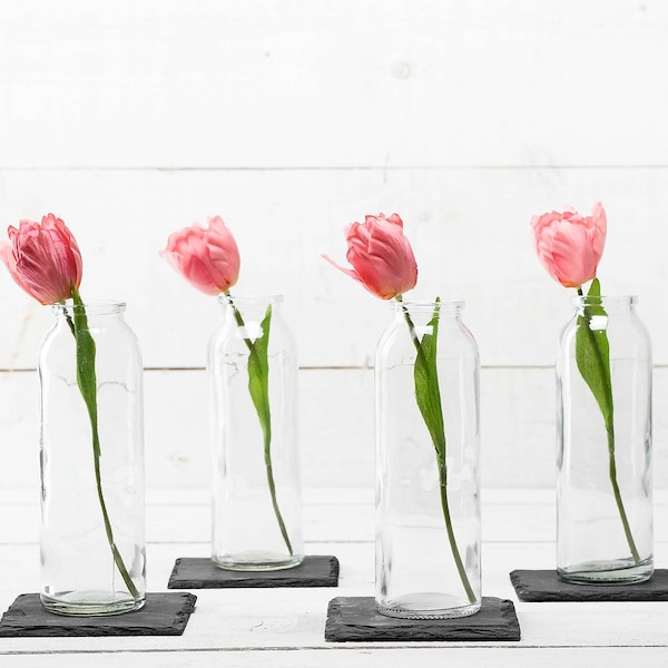 Vase mit Schieferplatte, 6-teilig, ohne Farbe