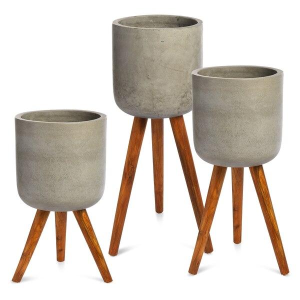 Outdoor-Pflanztopf-Set, 3-teilig, grau