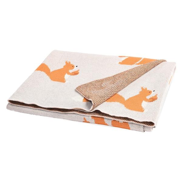 Kinder-Decke mit Eichhörnchen-Motiv, braun