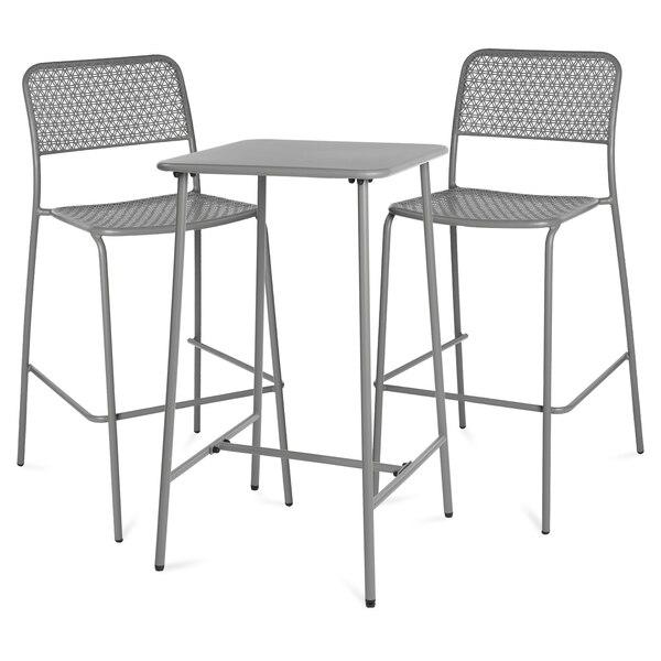 Outdoor-Bartisch mit Stuhl, 3-teilig, grau