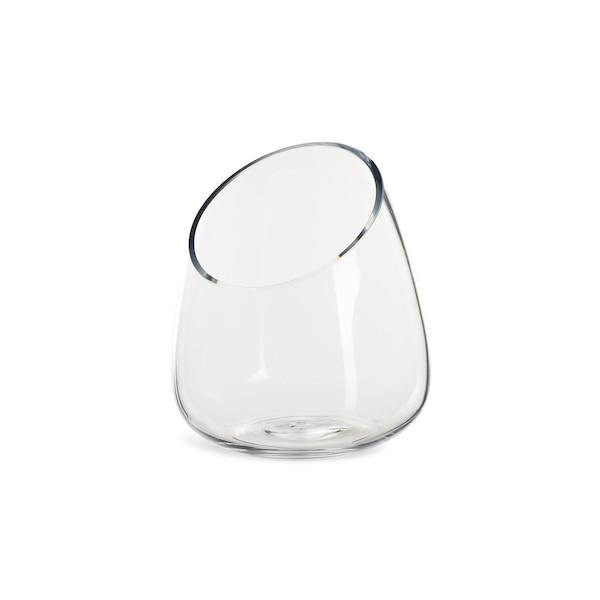 Vase aus Glas, schräg, klar