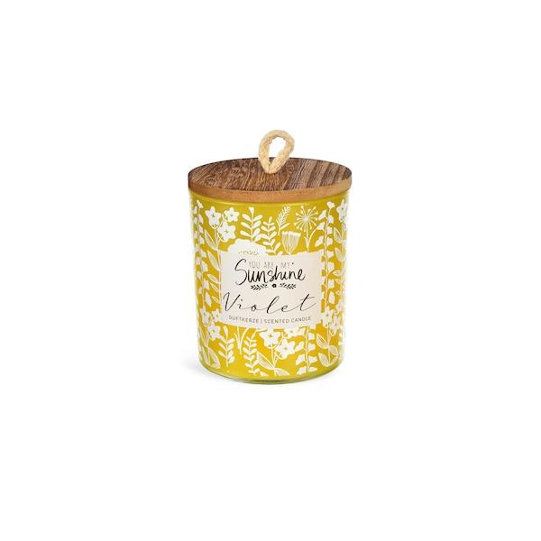Duftkerze Blümchen mit Deckel, gelb