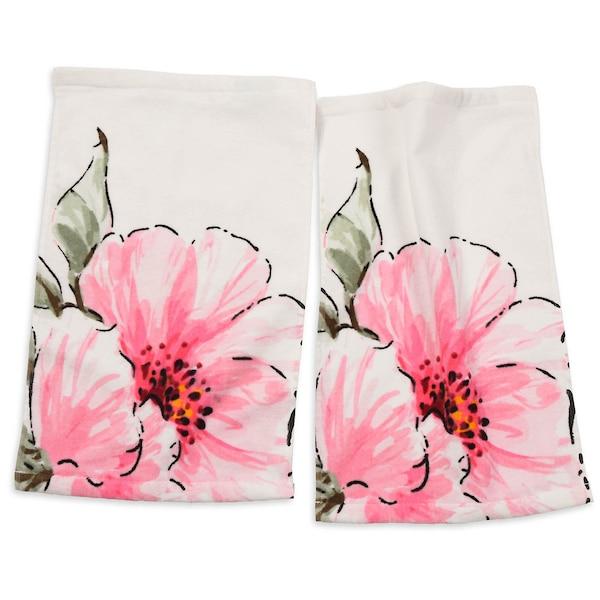 Gästetuch Flower, 2 Stück, rosa