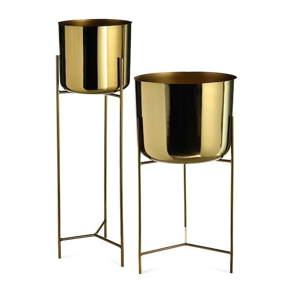 Übertopf-Set, 2-teilig, gold