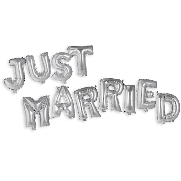 Folienballon-Set Just Married, silber