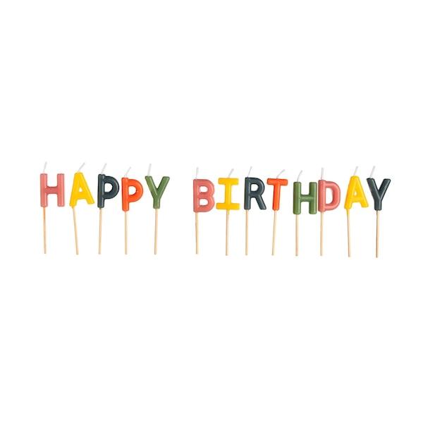 Kuchenkerzen Birthday, bunt