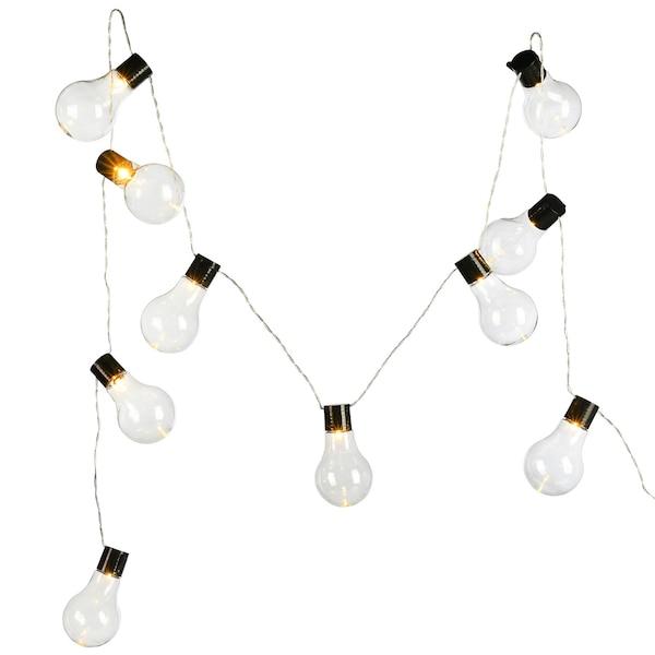 Outdoor-Lichterkette Glühbirne, 10 LED, Batteriebetrieben, schwarz