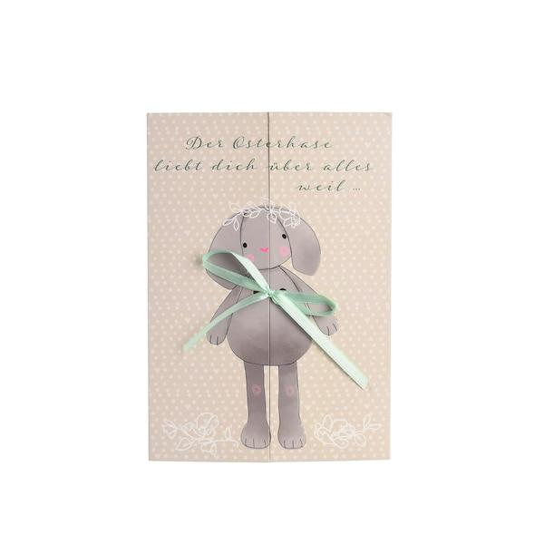 Geschenkkarte Hase liebt Dich, beige